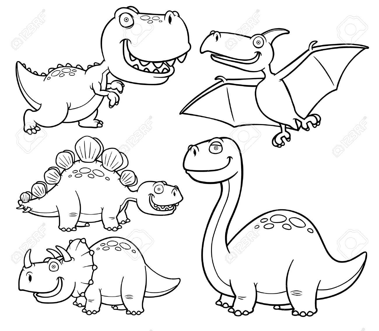 Ilustración Vectorial De Dinosaurios Personajes De Dibujos Animados Libro Para Colorear