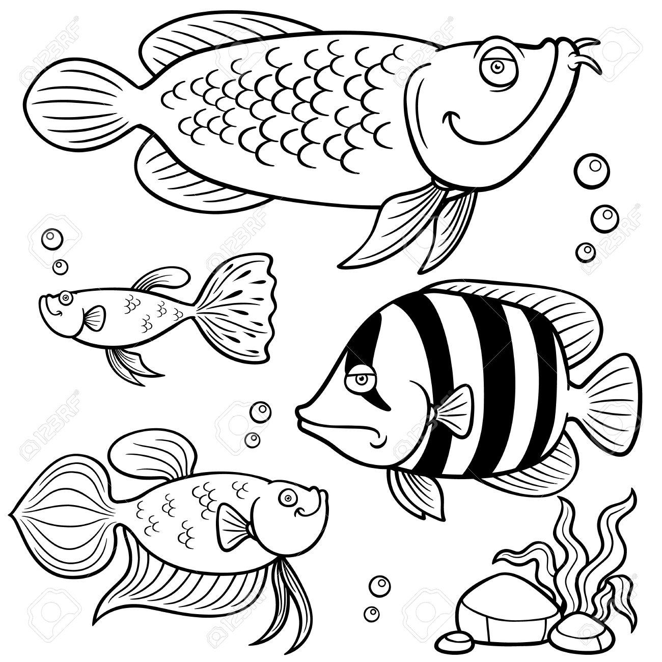 水族館の魚コレクション 塗り絵のベクトル イラスト