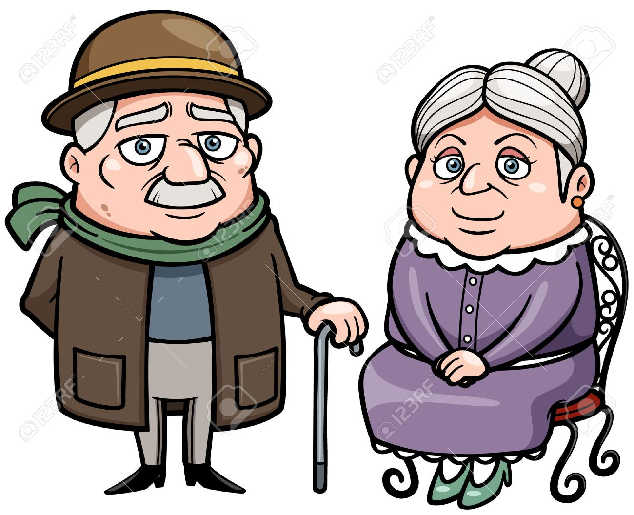 Image result for cartoon 100 year old grandparents
