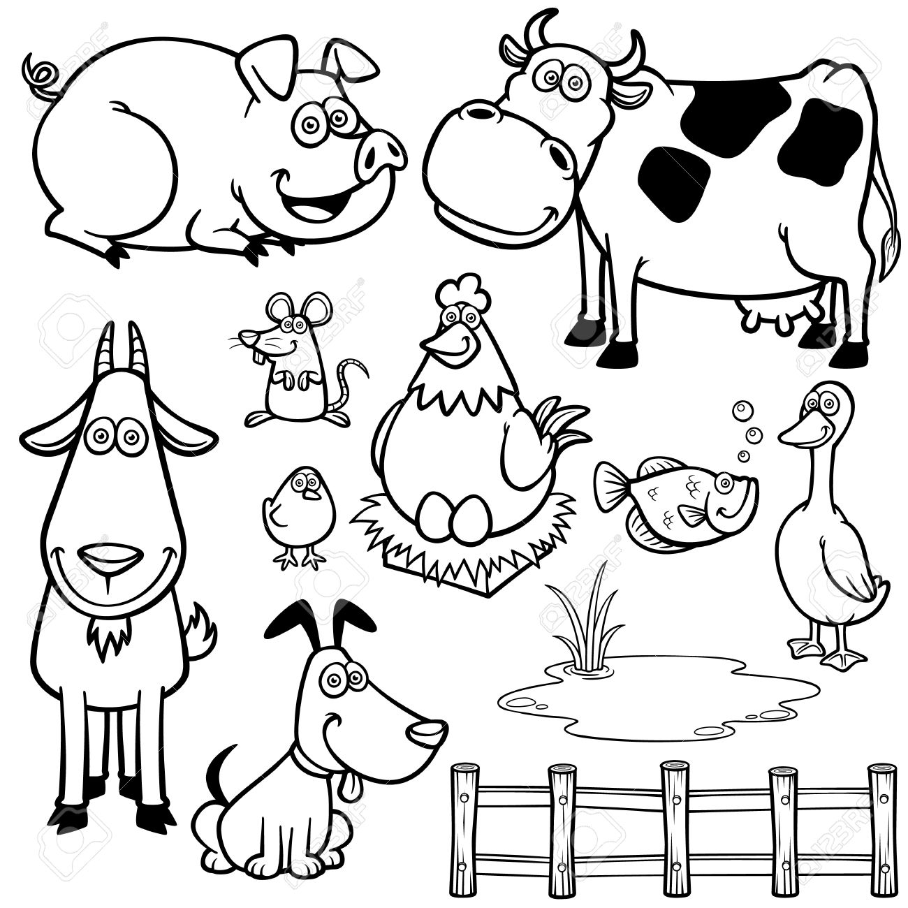Vector Illustration of Farm Animals cartoon - Coloring book