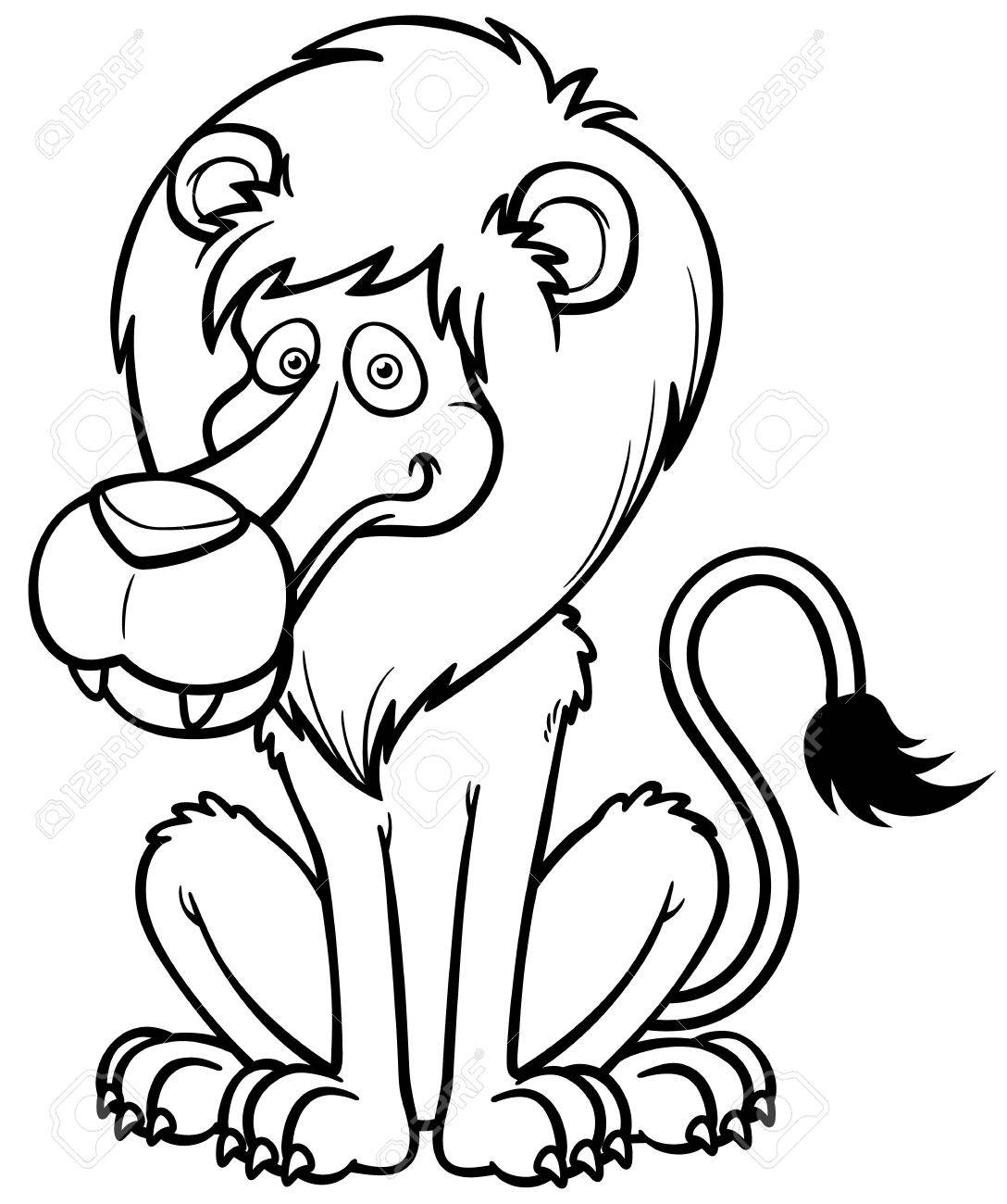 vector illustration of lion cartoon coloring book royalty free