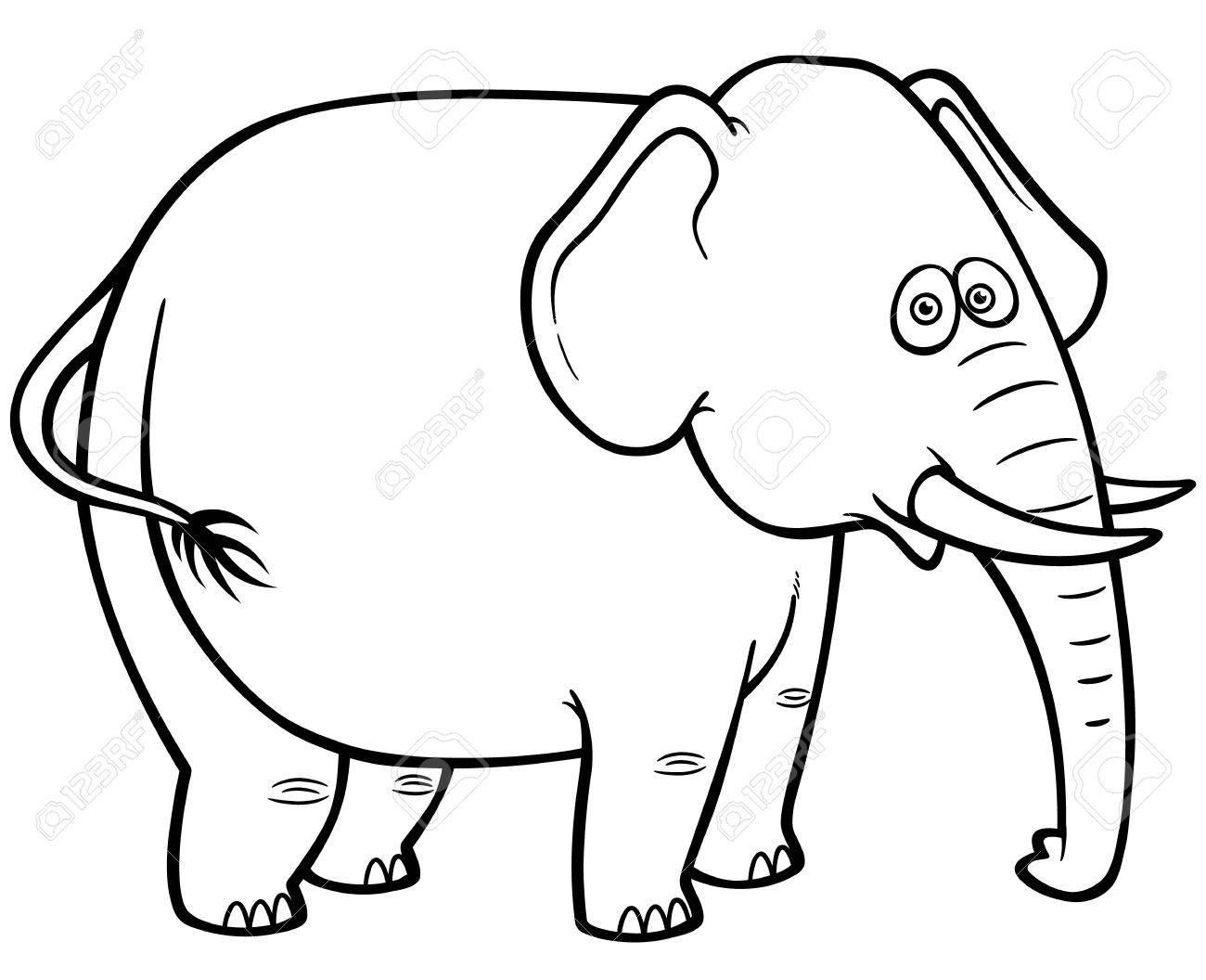 vector illustration of cartoon elephant coloring book stock vector 27321976 - Elephant Coloring Book