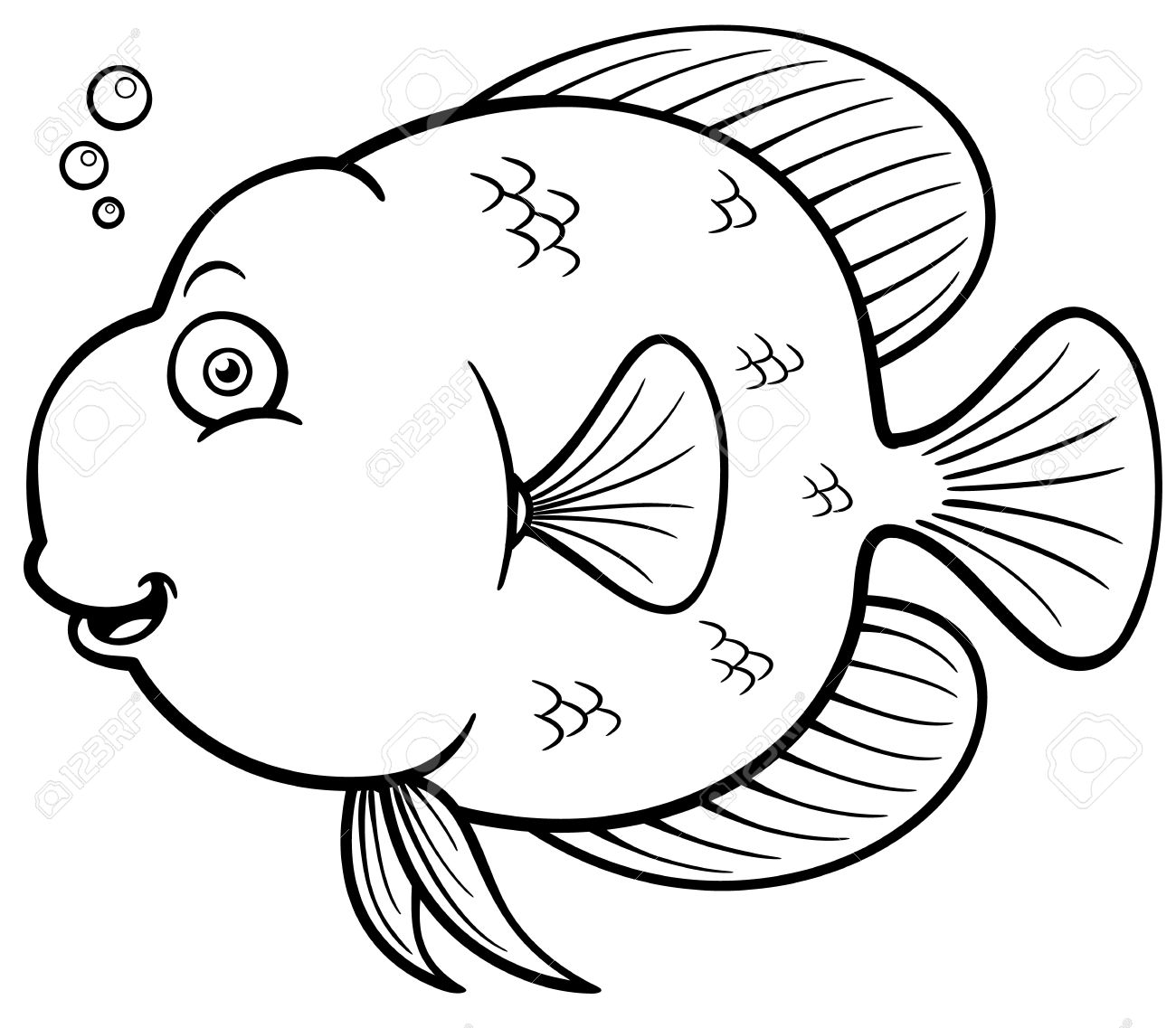 Ector Ilustración De Peces De Dibujos Animados Libro Para Colorear