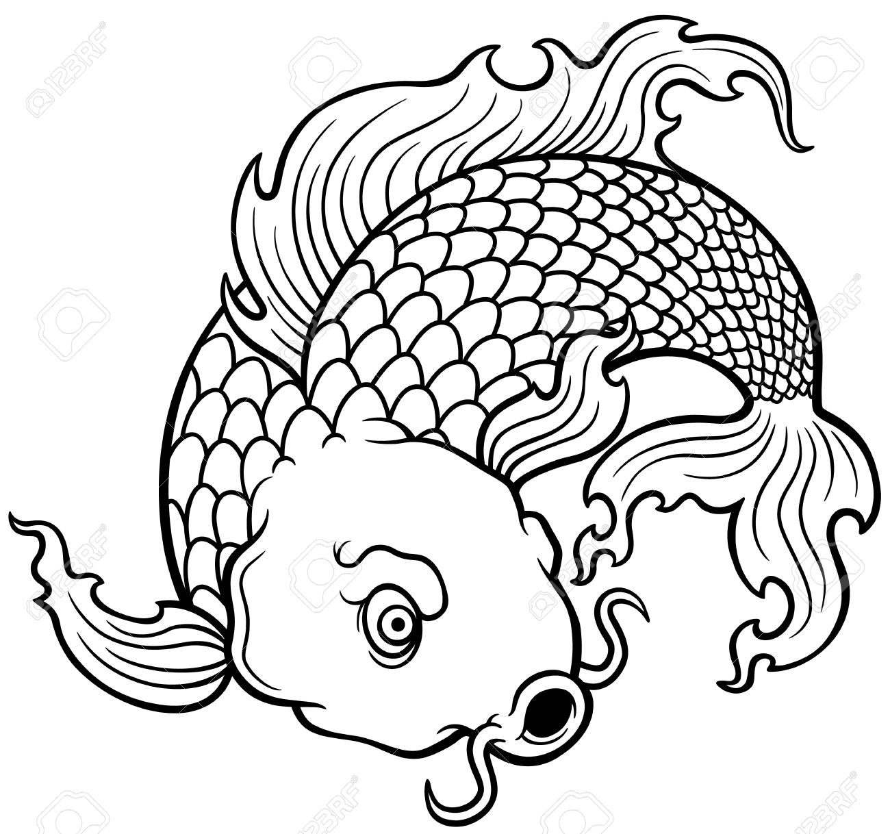 Vector Illustration Of Koi Fish - Coloring Book Royalty Free ...