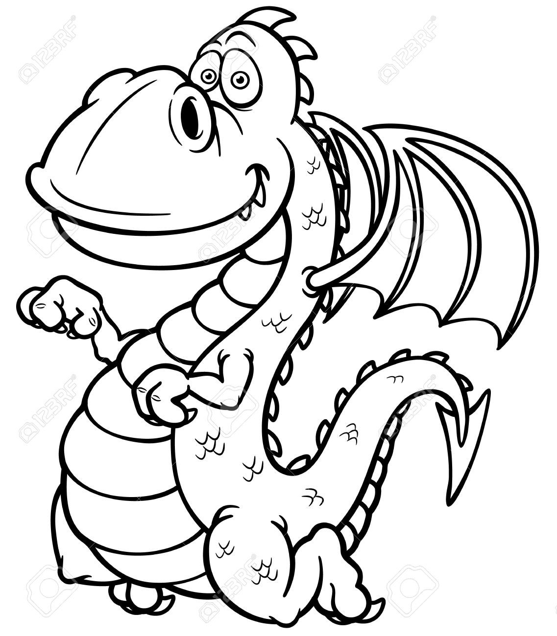 Vector Illustration Of Cartoon Dragon - Coloring Book Royalty Free ...