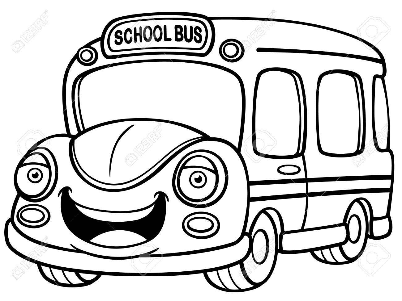 ラスター塗り絵のモノクロ イラスト日本少年は学校へバスで行くし手を