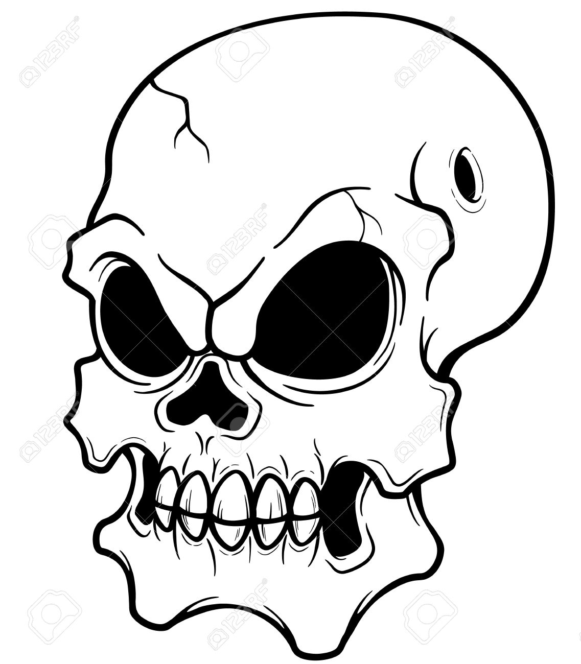 - Vector Illustration Of Skull - Coloring Book Royalty Free Cliparts