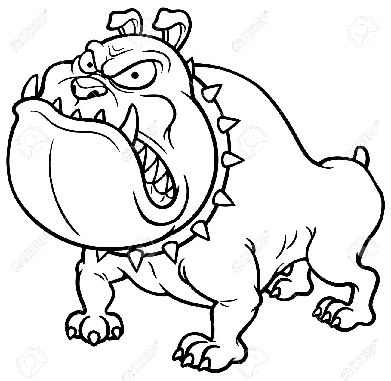Vector Illustration Of Angry Dog Coloring Book Royalty Free