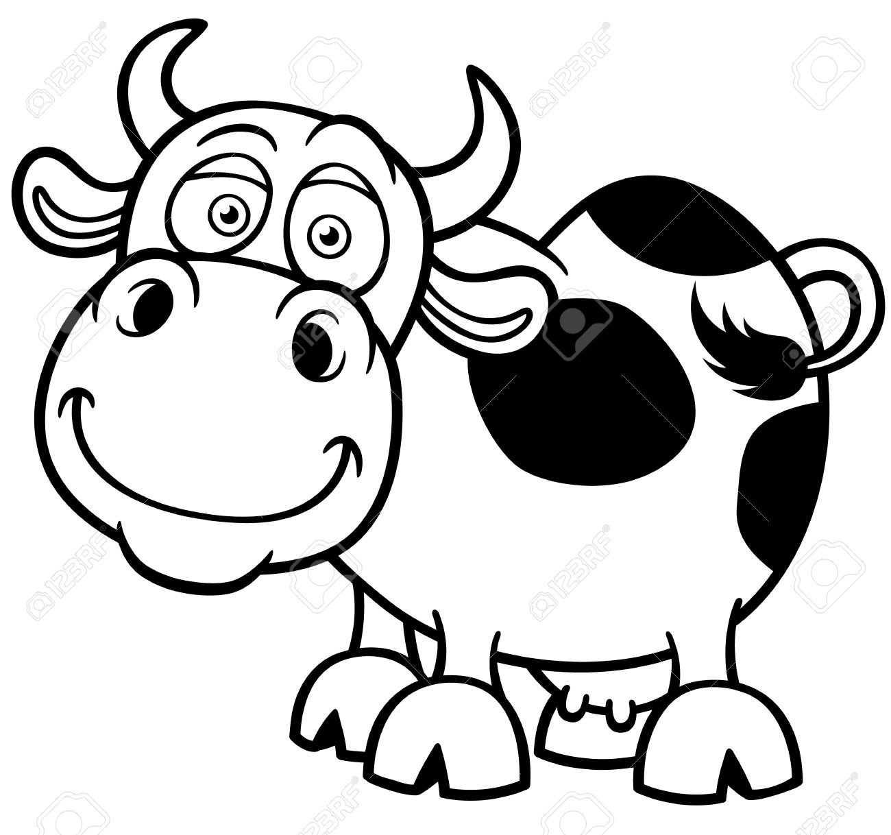Illustration Of Cartoon Cow - Coloring Book Royalty Free Cliparts ...