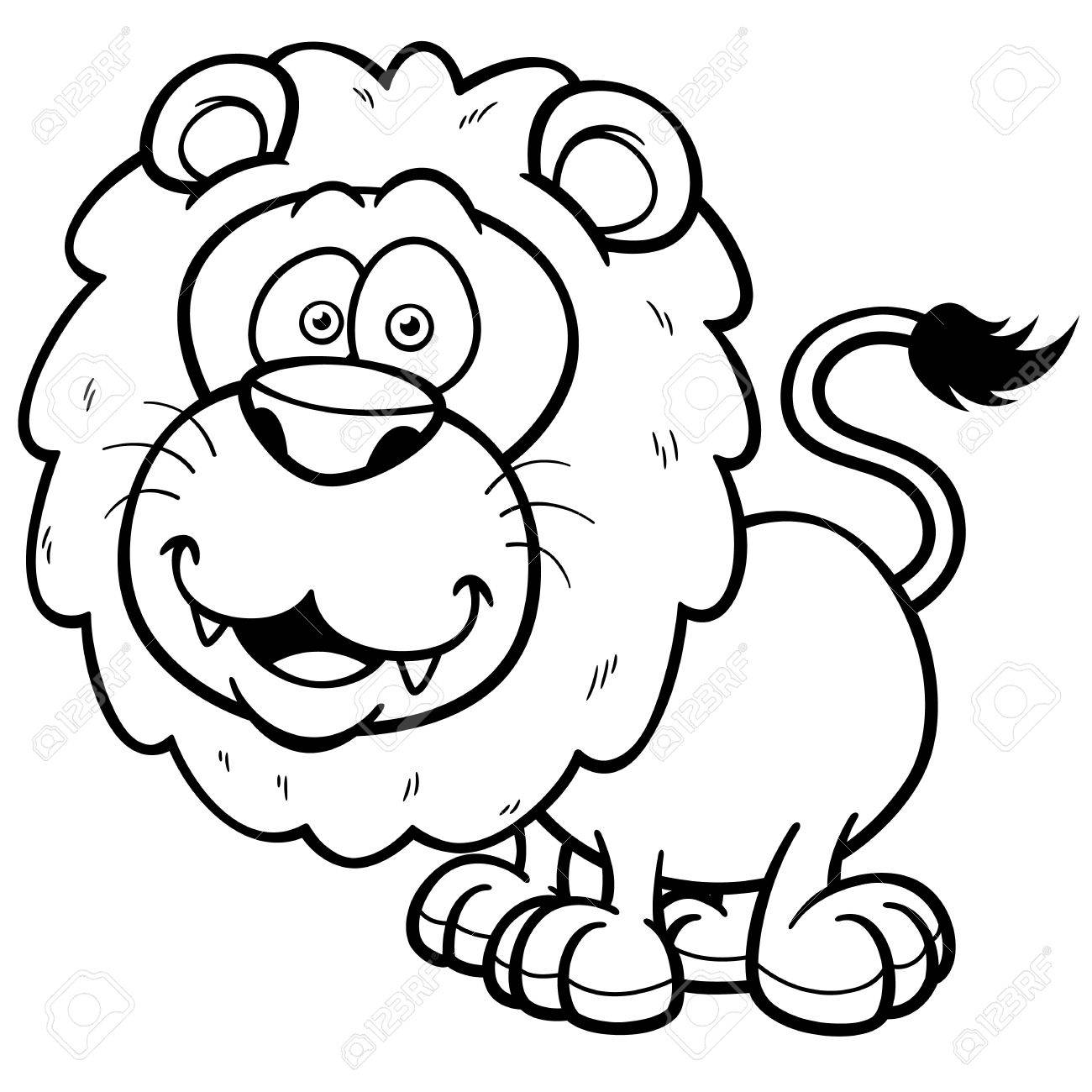 Illustration Of Lion Cartoon Coloring Book