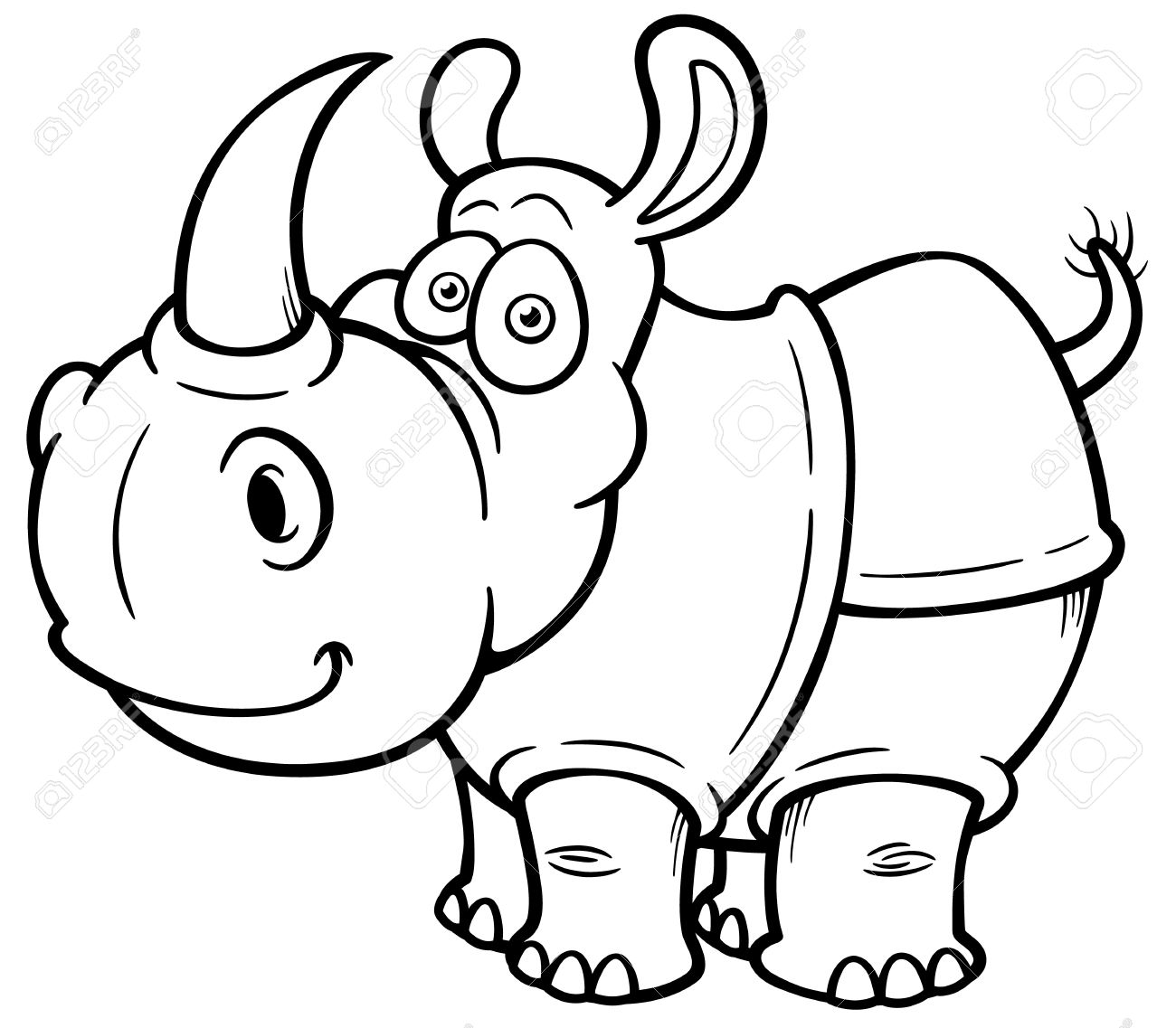 illustration of cartoon rhino coloring book royalty free