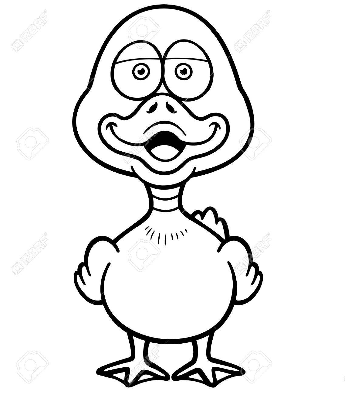 Vector Illustration Of Cartoon Duck - Coloring Book Royalty Free ...