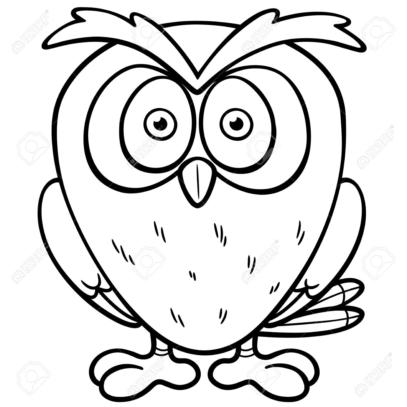 Vector Illustration Of Cartoon Owl - Coloring Book Royalty Free ...