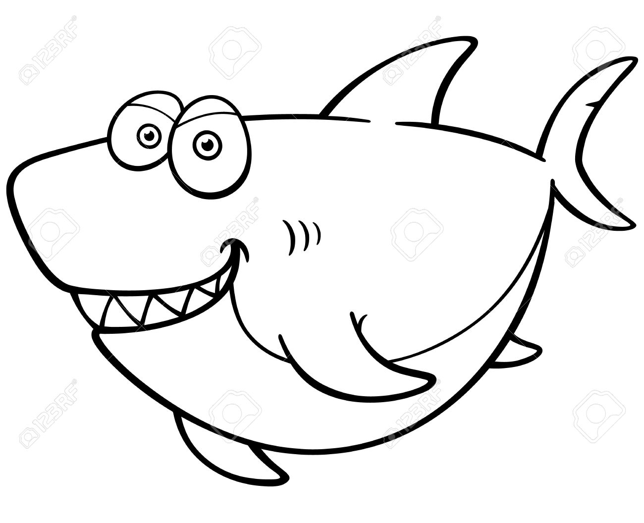 Vector Illustration Of Cartoon Shark Coloring Book Royalty Free