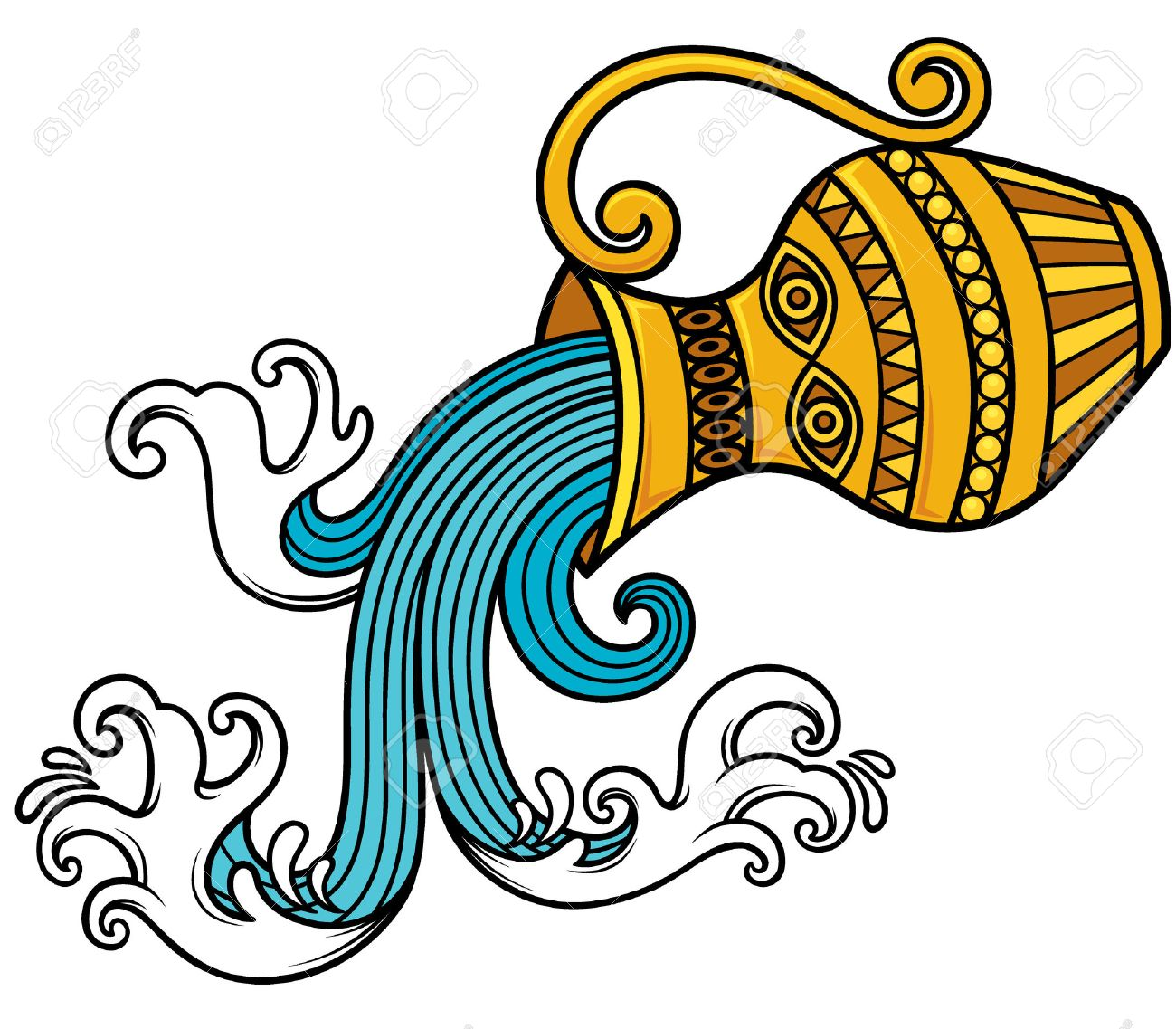 vector illustration of aquarius zodiac sign royalty free cliparts