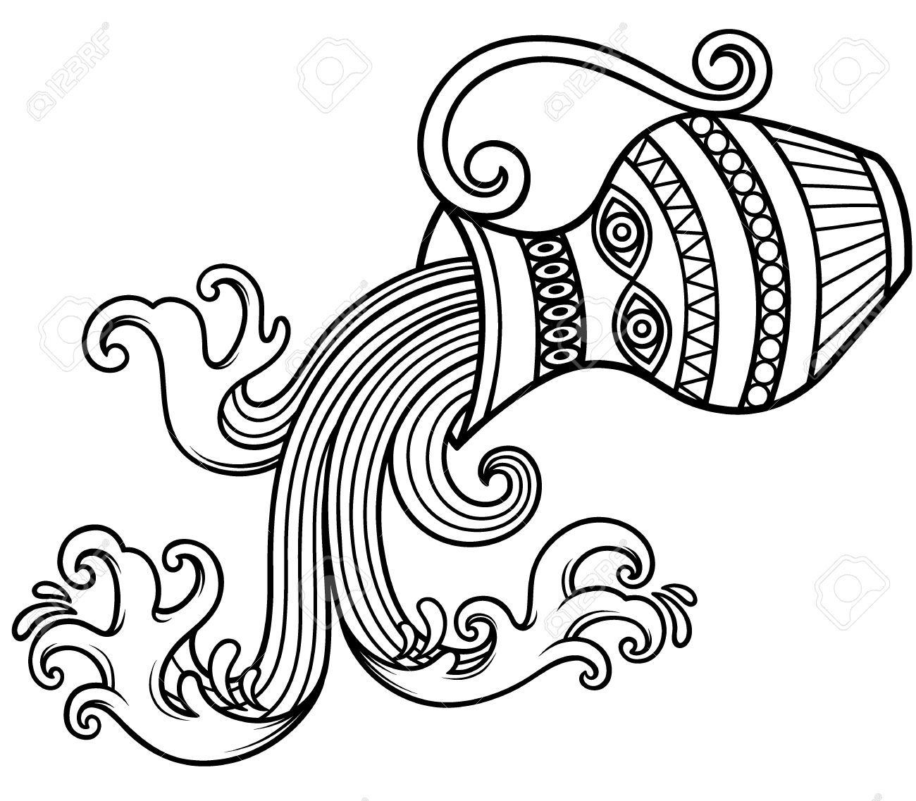vector illustration of aquarius zodiac sign outline royalty free