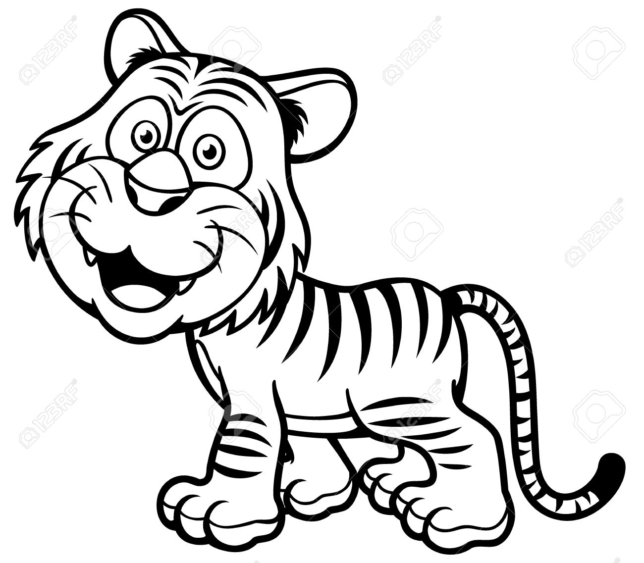 Illustration Of Tiger Cartoon Coloring Book