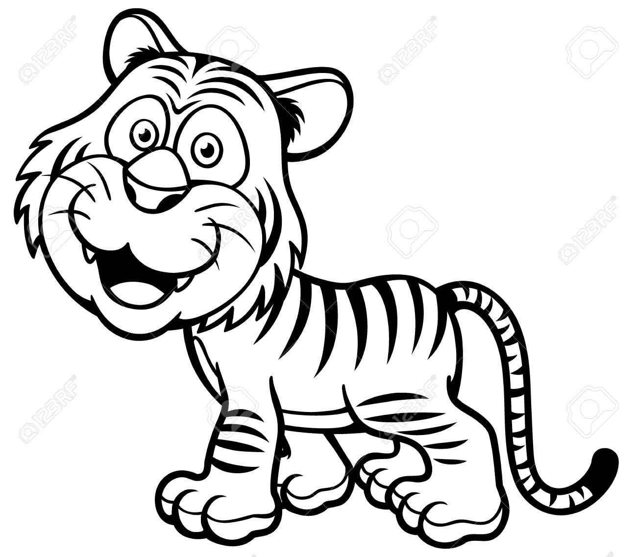 Ilustración De Dibujos Animados Tigre Libro Para Colorear