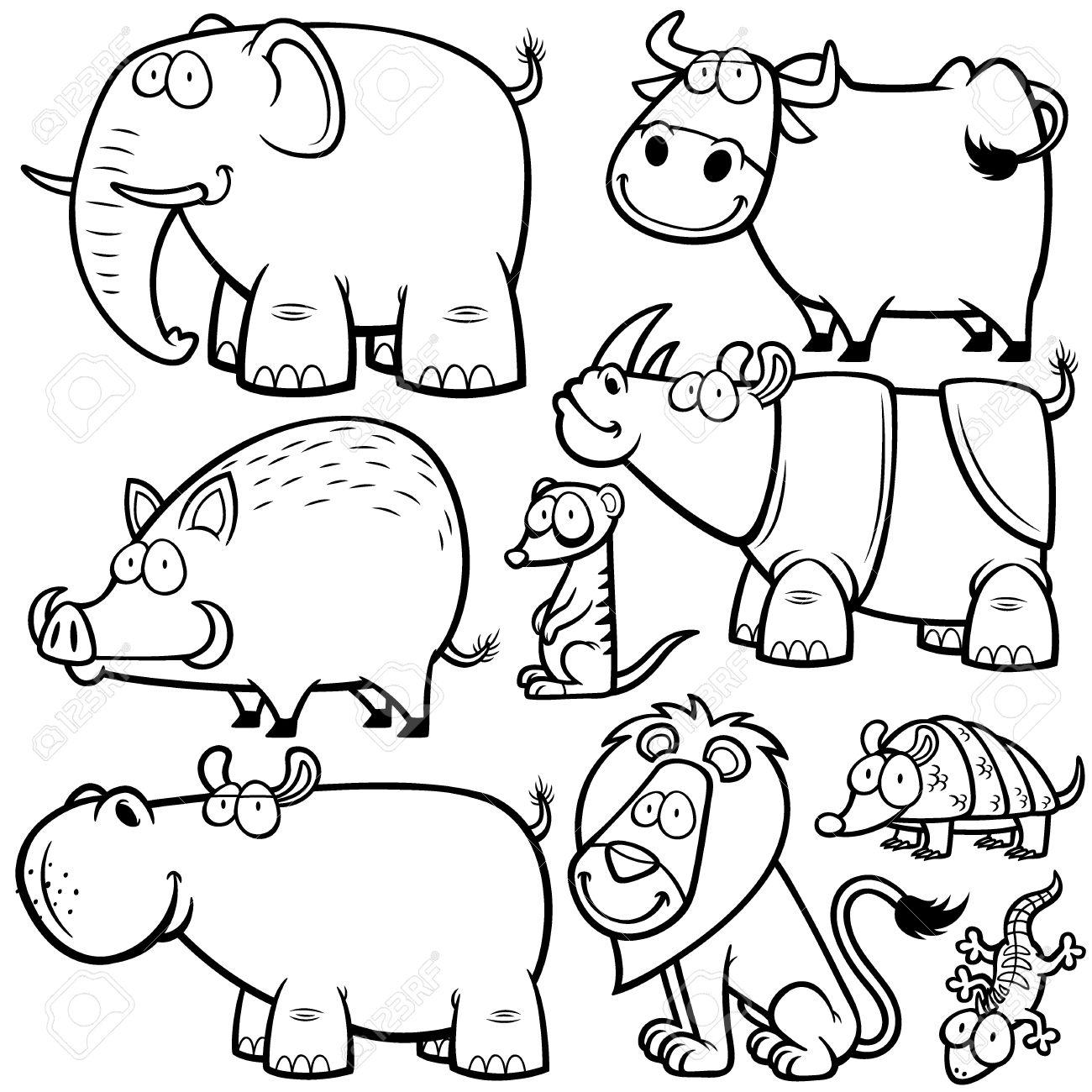 Ilustracion De Animales Salvajes Caricaturas Libro Para Colorear