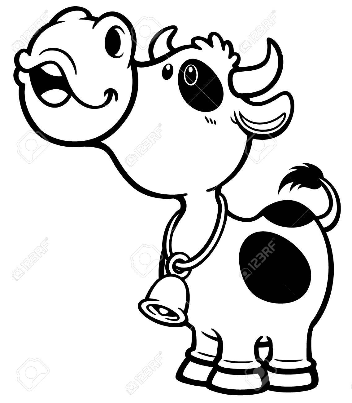 Vector Illustration Of Cartoon Cow - Coloring Book Royalty Free ...