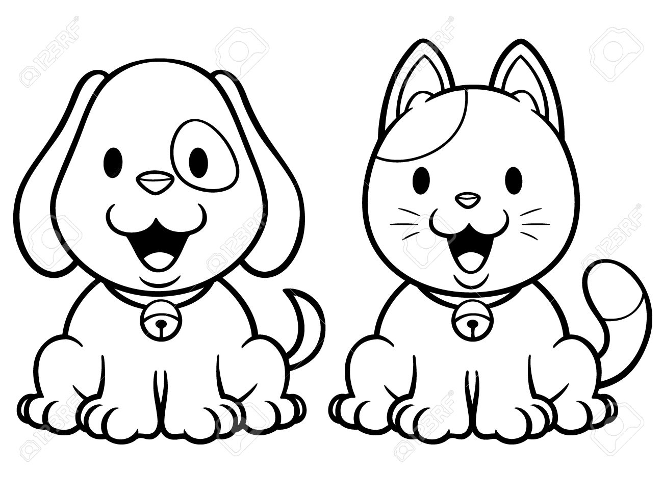 Vector Illustration Of Cartoon Cat And Dog Coloring Book Royalty