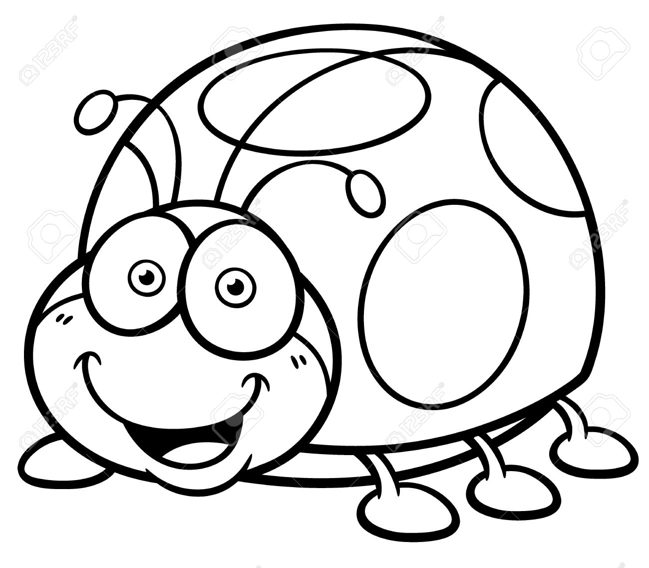 vector illustration of cartoon lady bug coloring book stock vector 32308091 - Cartoon Coloring Book