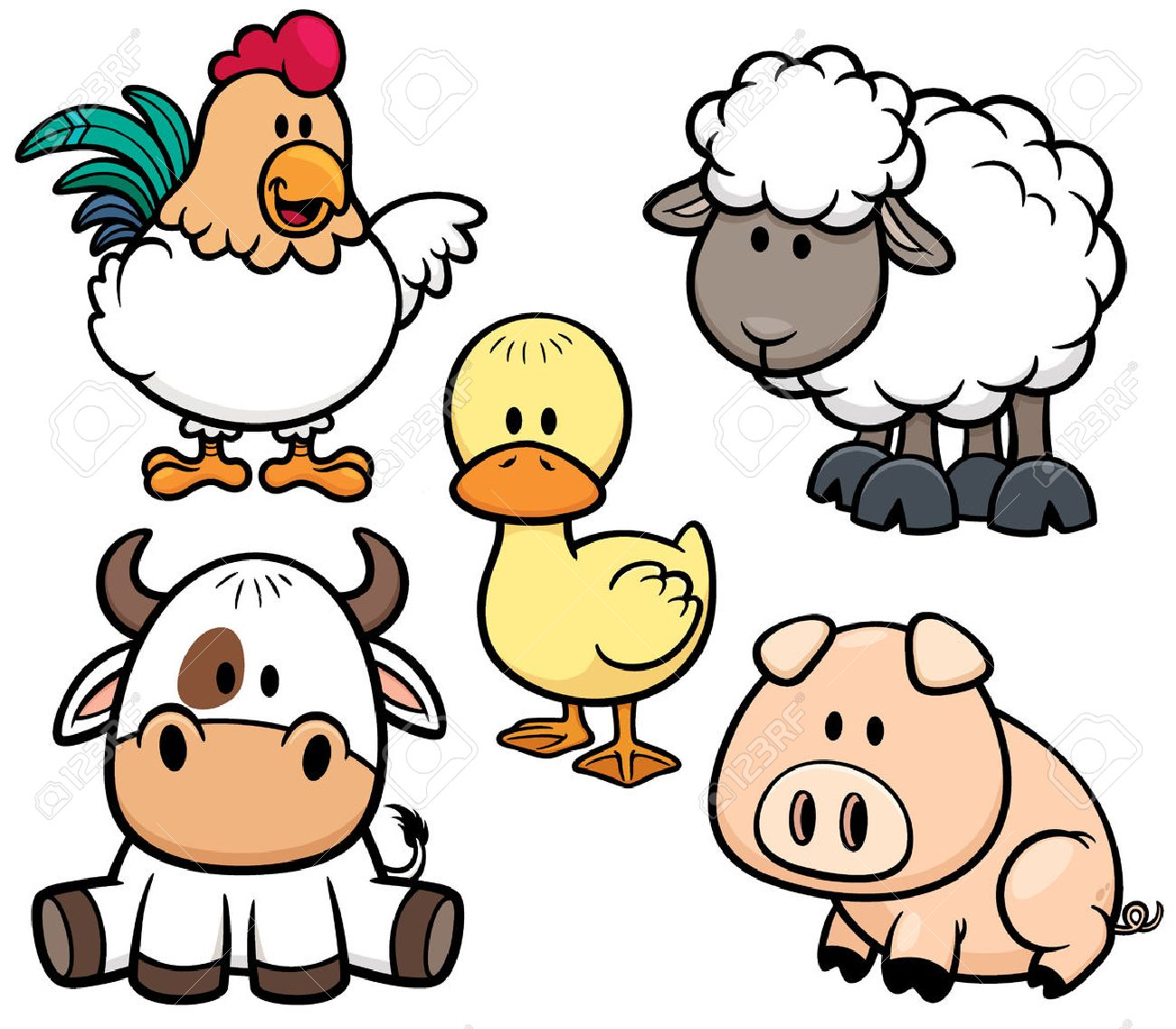 vector illustration of cartoon animals farm set stock vector 32309089 - Images Cartoon Animals