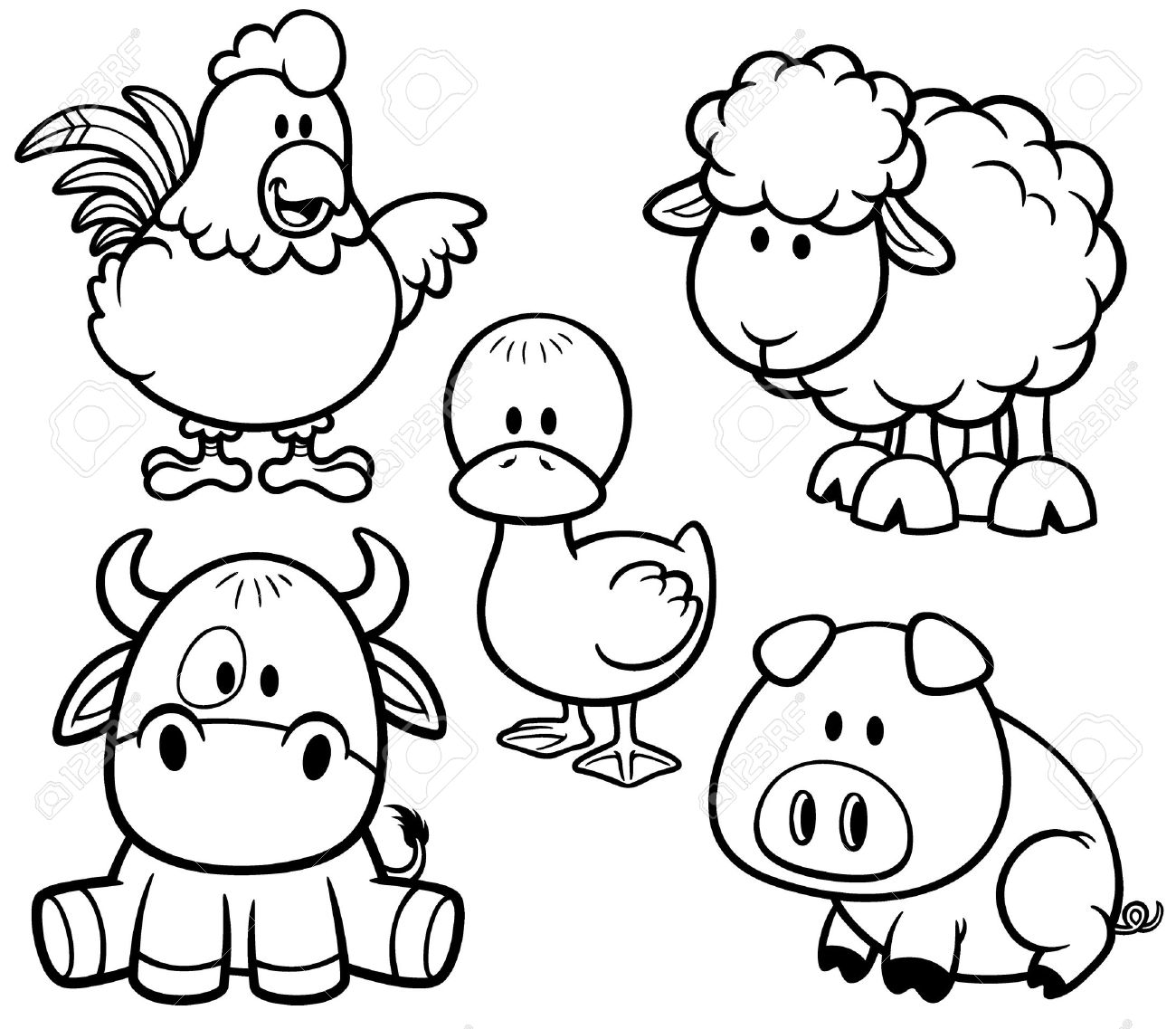 Vector Illustration Of Cartoon Animals Farm Set Coloring Book Stock 32309091