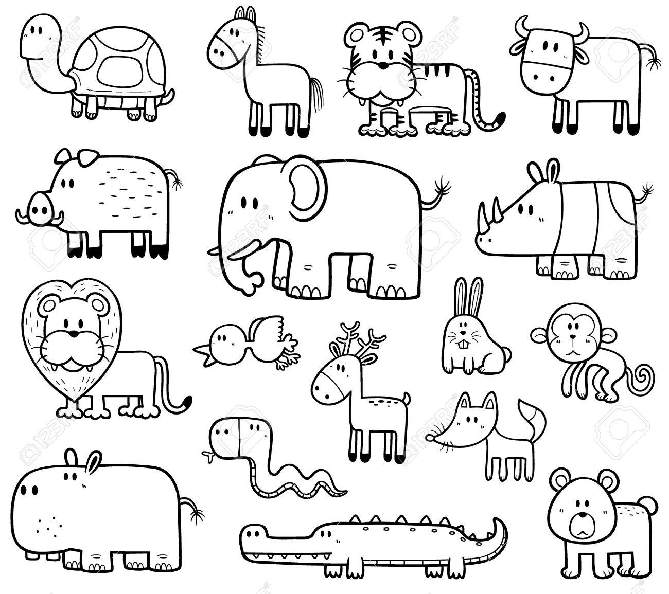 Ilustración Vectorial De Dibujos Animados De Animales Salvajes Set Libro Para Colorear