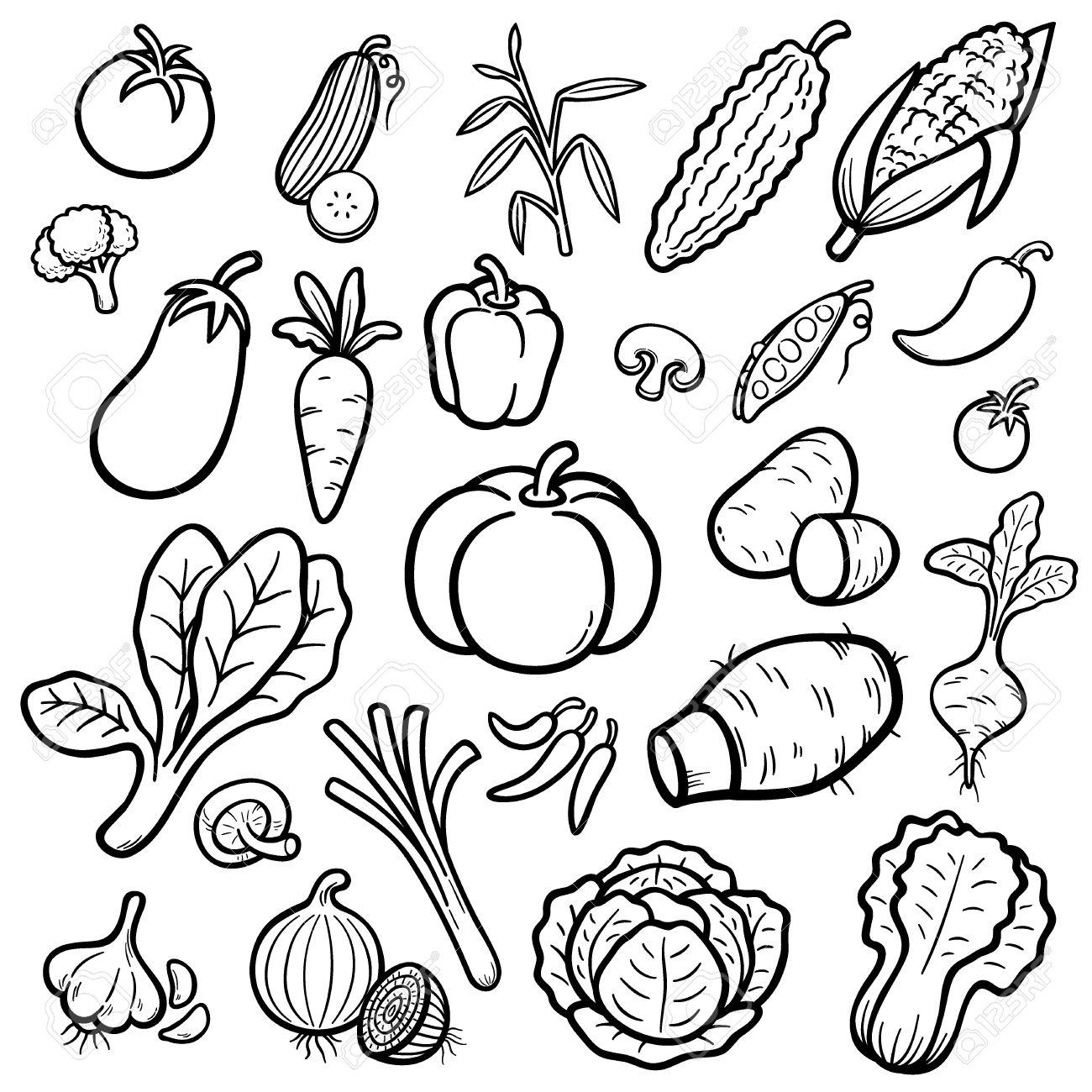 Ilustración Vectorial De Conjunto De Verduras De Dibujos Animados Libro Para Colorear