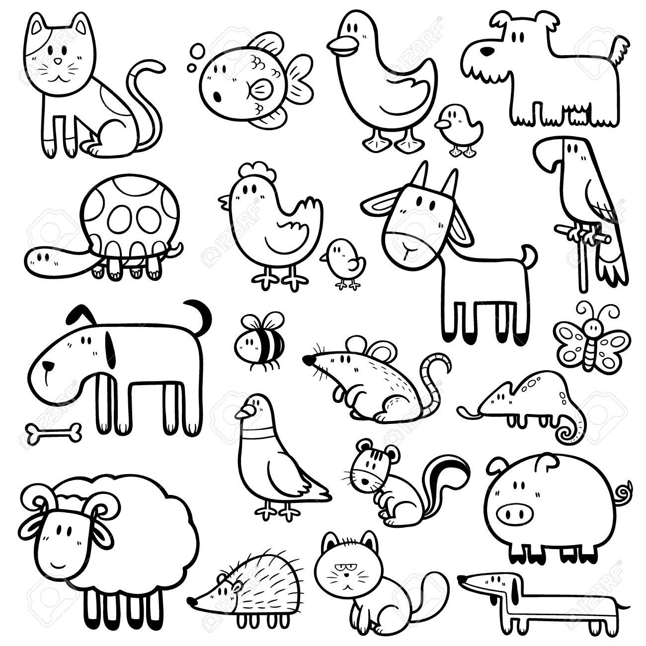 Vector Illustration Of Cartoon Animals - Coloring Book Royalty Free ...