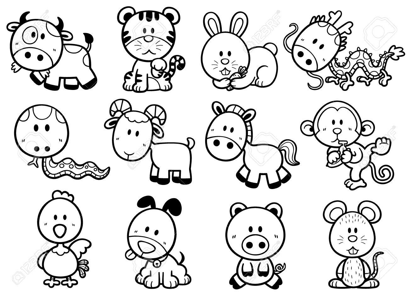 Vector Illustration Of Chinese Zodiac Animal Cartoon - Coloring ...