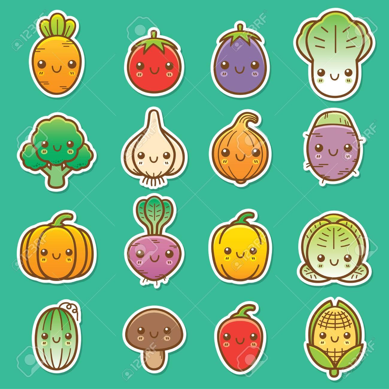 Vector Illustration of Cartoon vegetable set - 33467376