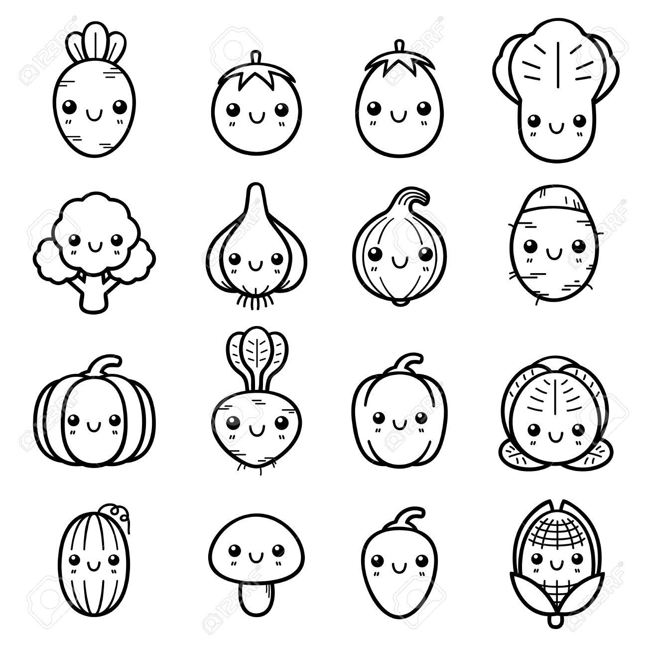 Ilustración Del Conjunto De Verduras De Dibujos Animados Libro Para Colorear
