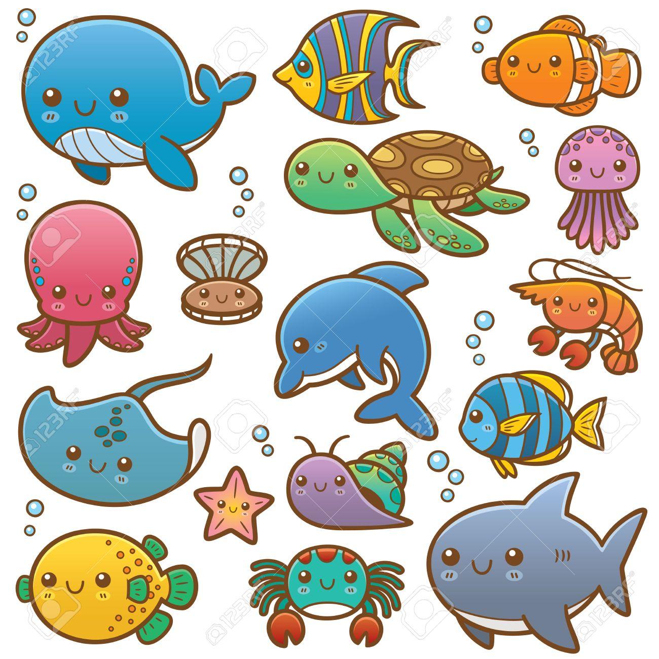 Ilustración Vectorial De Los Animales De Mar De Dibujos Animados ...