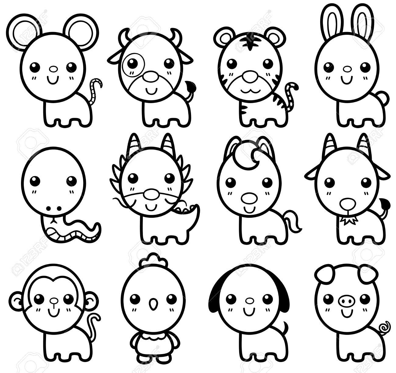 Ilustración Vectorial De Zodiaco Chino De Dibujos Animados De Animales Libro Para Colorear