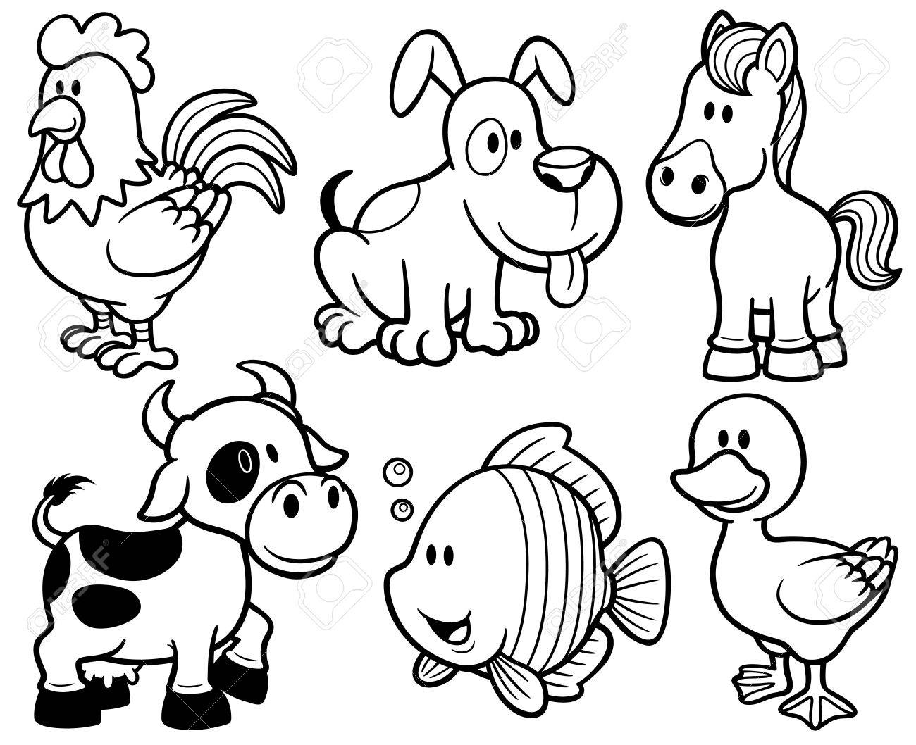 vector vector illustration of animals cartoon coloring book - Coloring Book Animals