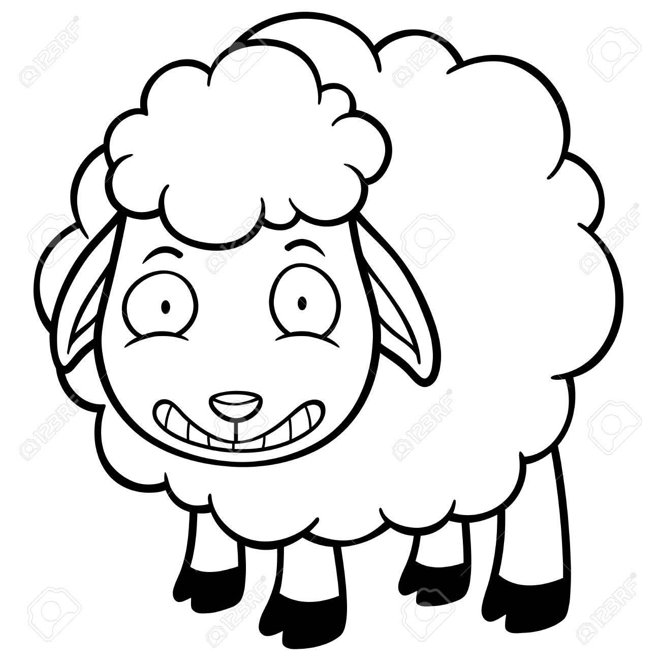 Illustration D Un Mouton De Dessin Anime Livre A Colorier Clip