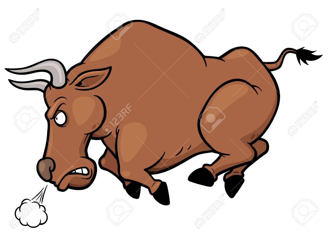 Vector illustration of cartoon Angry bull - 36008783
