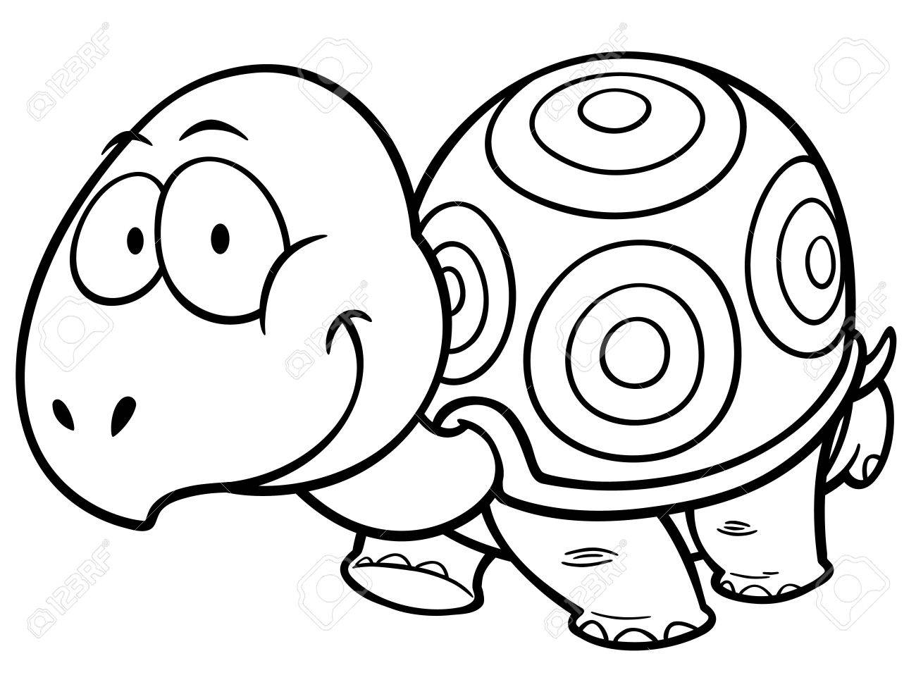 Vector Illustration Of Cartoon Turtle - Coloring Book Royalty Free ...
