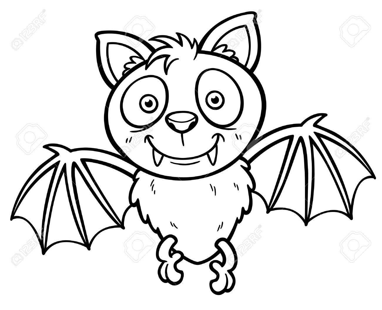 Vector Illustration Of Cartoon Bat - Coloring Book Royalty Free ...