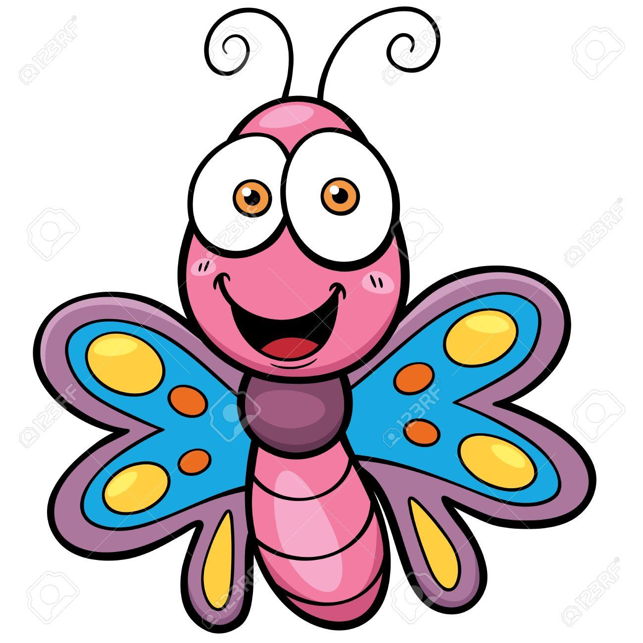 ilustración vectorial de dibujos animados de la mariposa