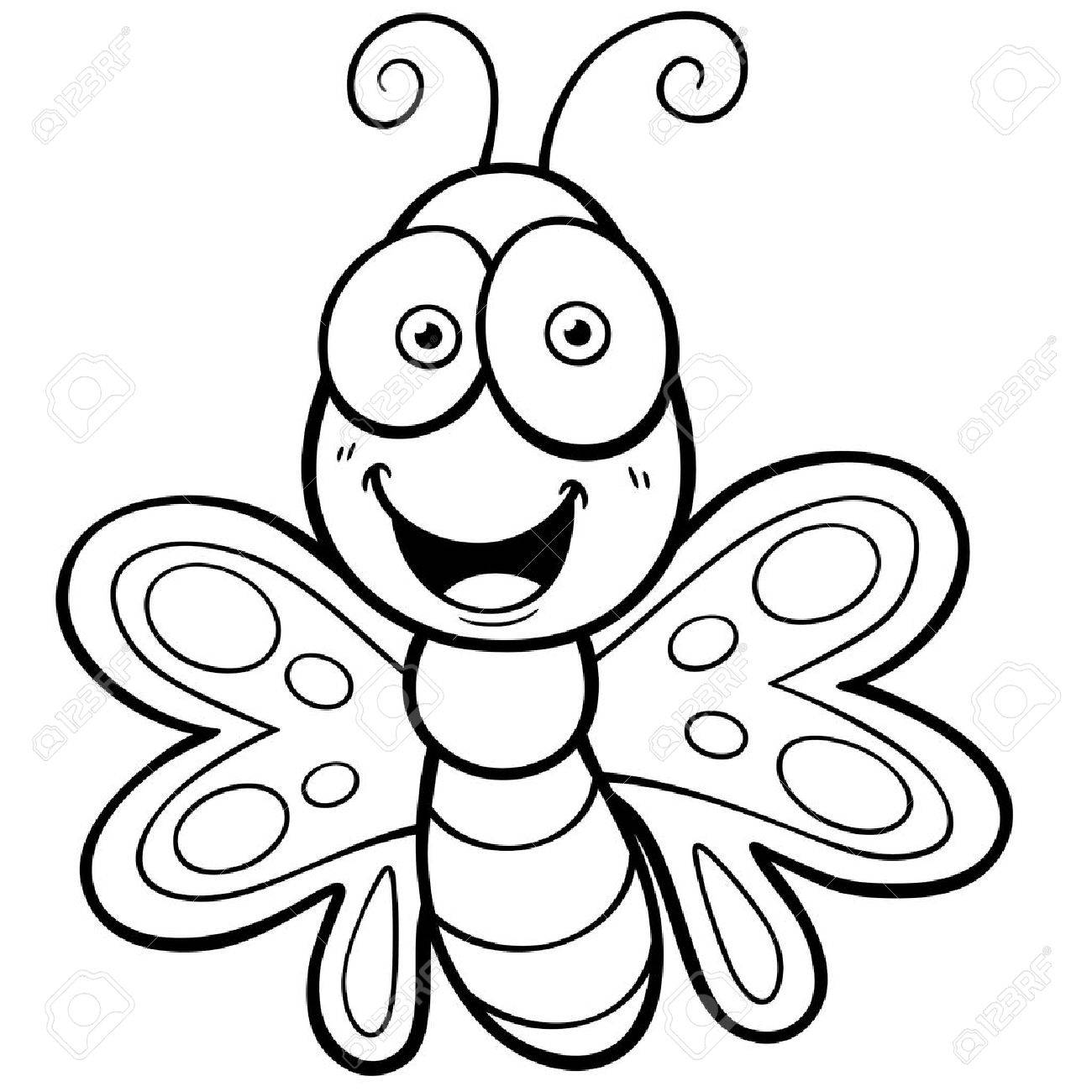 vector illustration of butterfly cartoon coloring book royalty