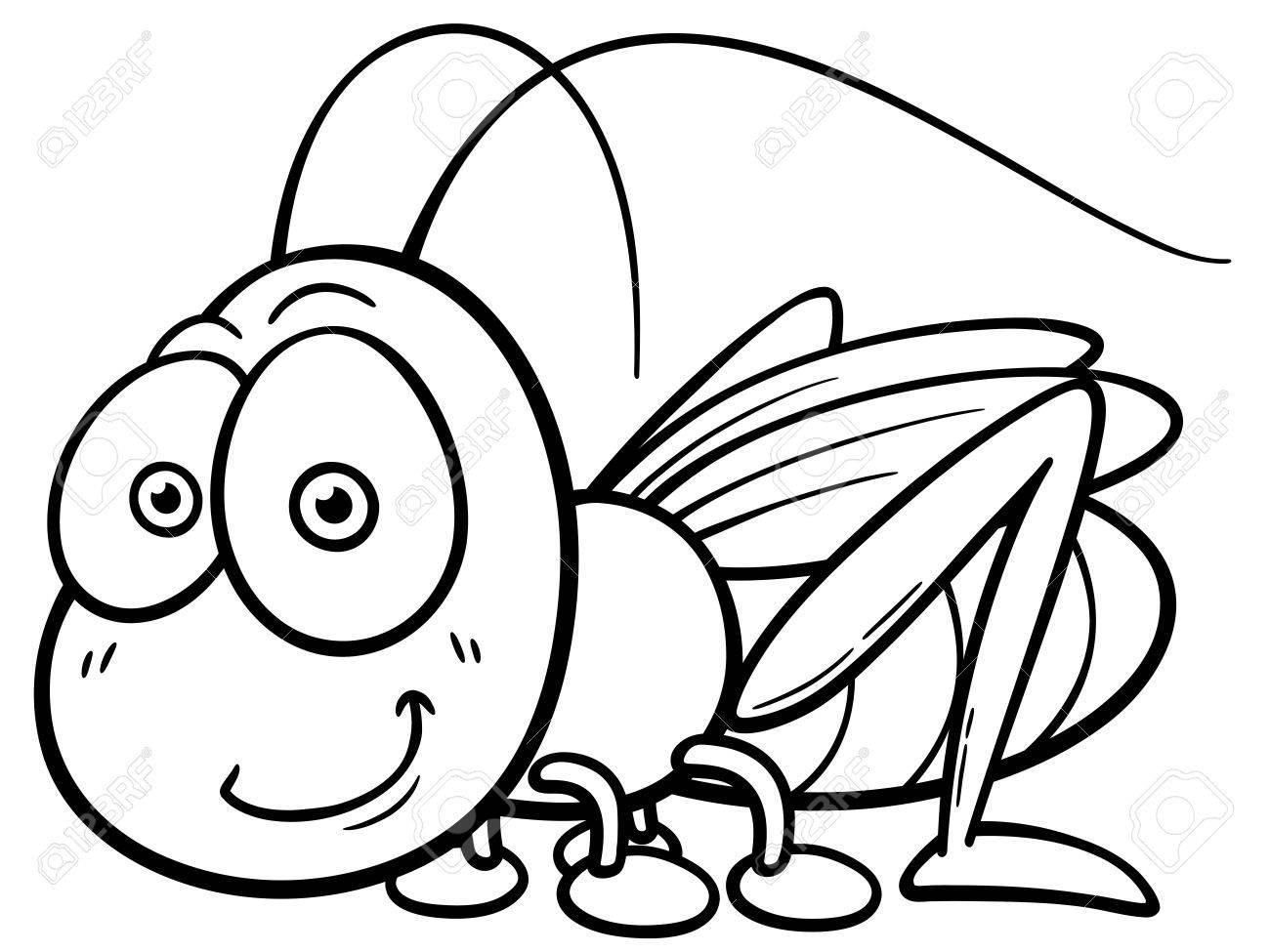 vector illustration of cartoon grasshopper coloring book royalty rh 123rf com
