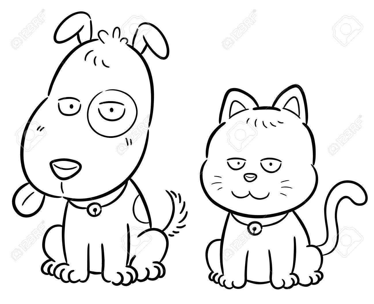 Ilustración Vectorial De Dibujos Animados Del Gato Y Perro - Libro ...