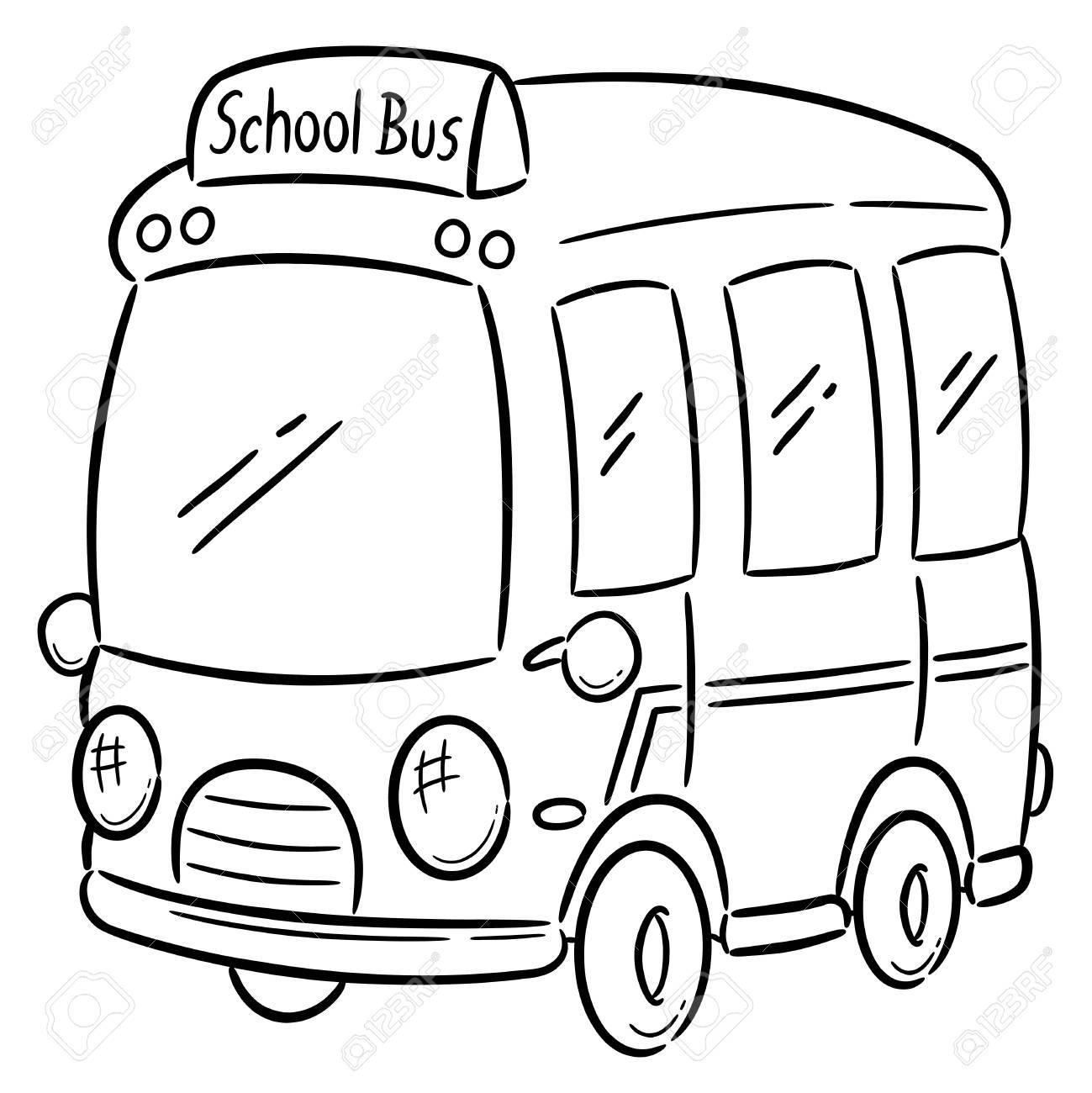 スクールバス 塗り絵のベクトル イラストのイラスト素材ベクタ