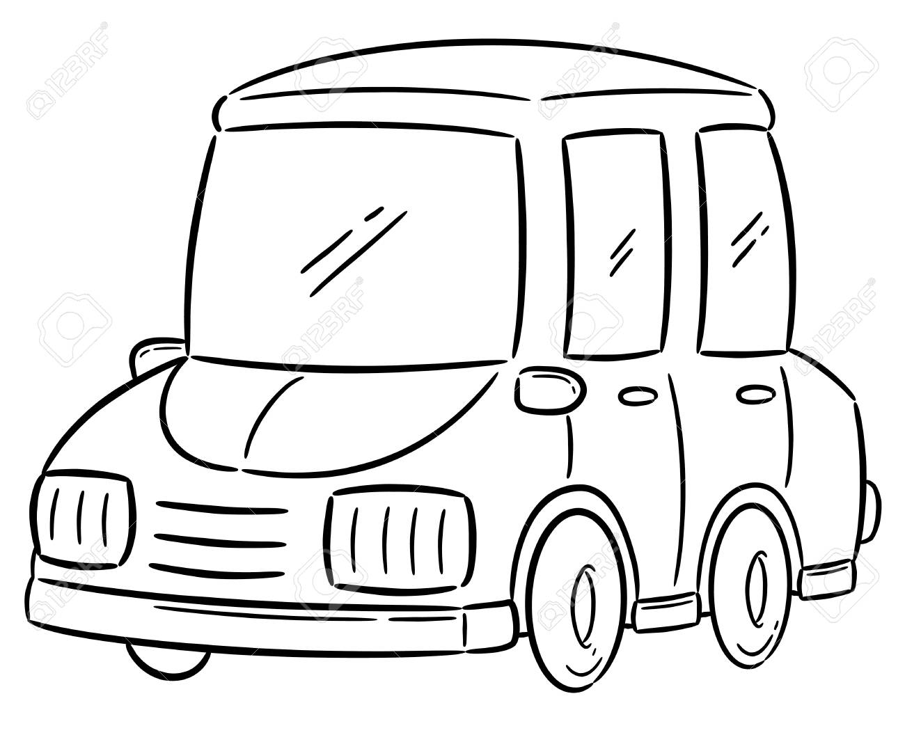 Ilustración Vectorial De Dibujos Animados De Coches Libro Para Colorear