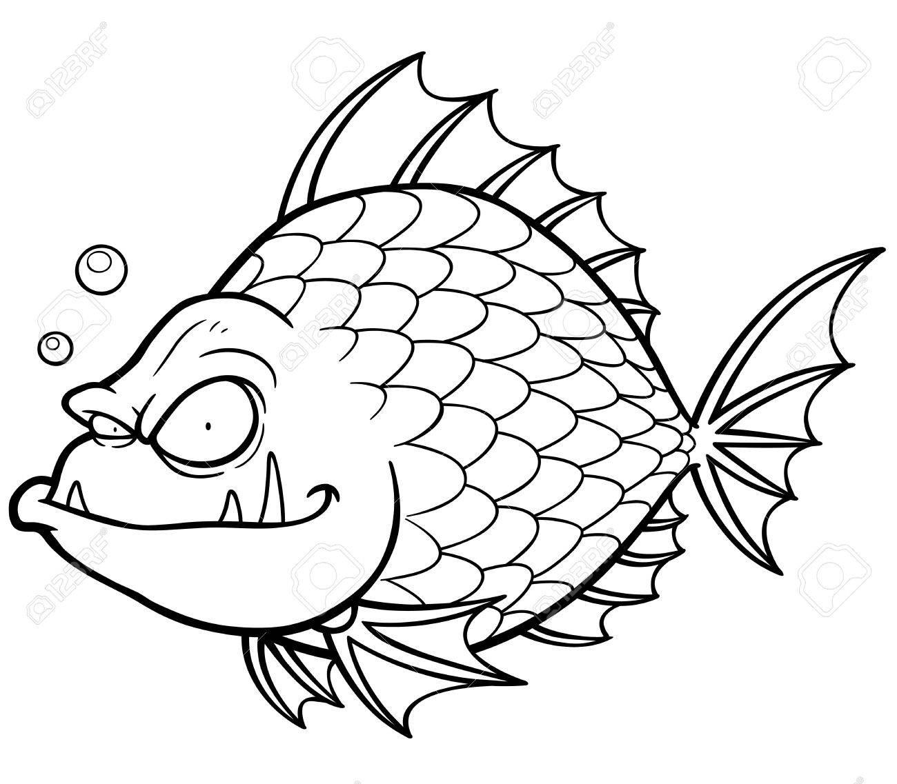 ベクトル漫画の魚のイラスト塗り絵