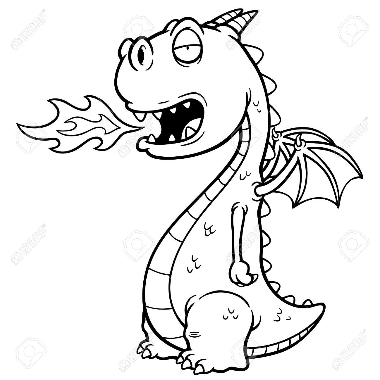 Ilustración Vectorial De Dragón De Dibujos Animados. Libro Para ...