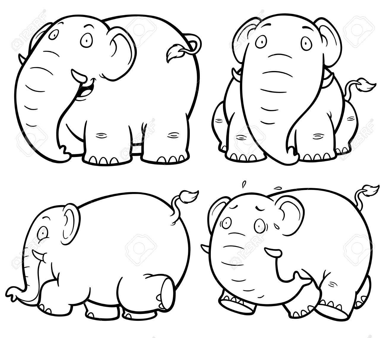 Vector Ilustración De Libro Del Elefante Para Colorear